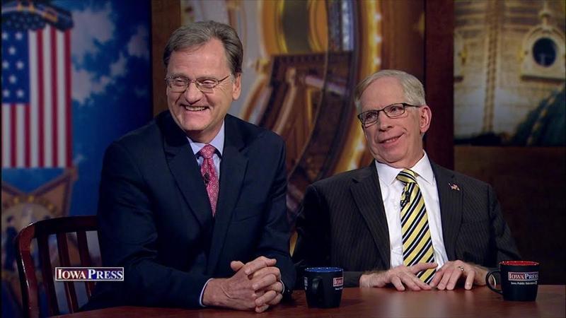 Republican lobbyist Doug Gross (L) and Steve Scheffler, Iowa representative on the National Republican Committee