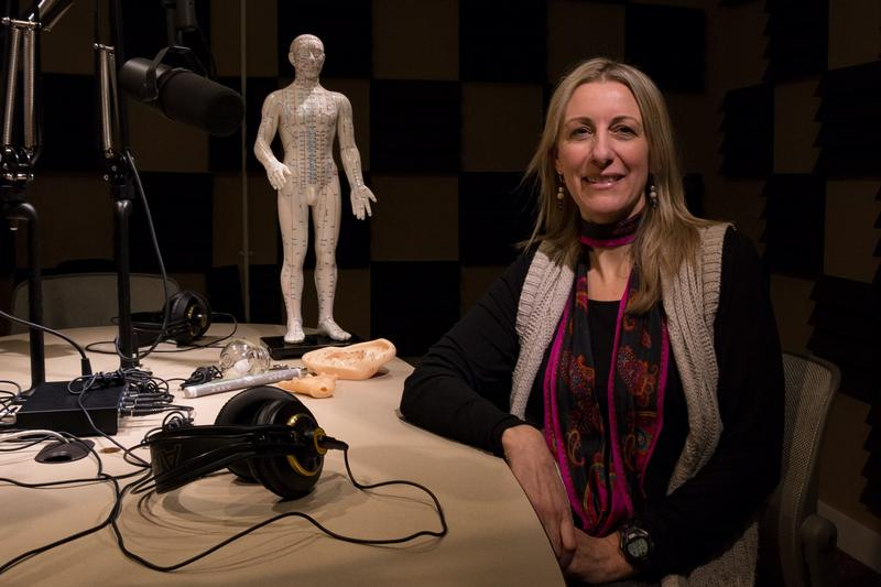 Licensed acupuncturist Deb van Latenstein in Iowa Public Radio's Des Moines studio.