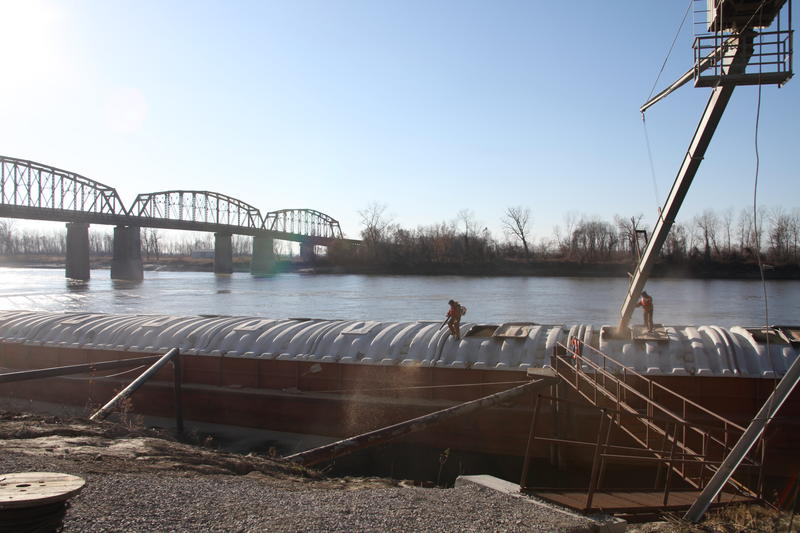 Soybeans are loaded onto a barge for river transport during the 2015 harvest.