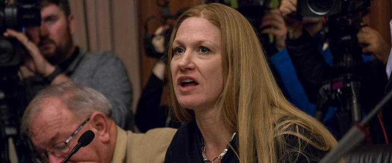 Senator Amy Sinclair opposes abortion rights and supports a bill making the procedure illegal after a fetal heartbeat is detected by a physician.