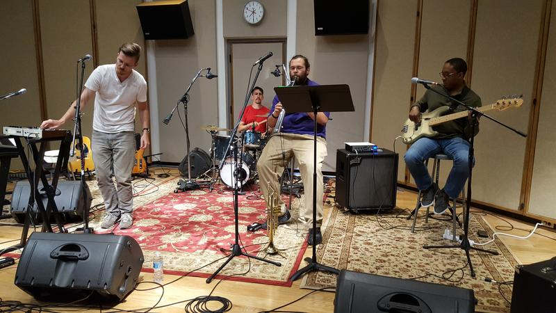 Lewis Knudsen (far left) and his band perform in IPR's Cedar Falls studios.