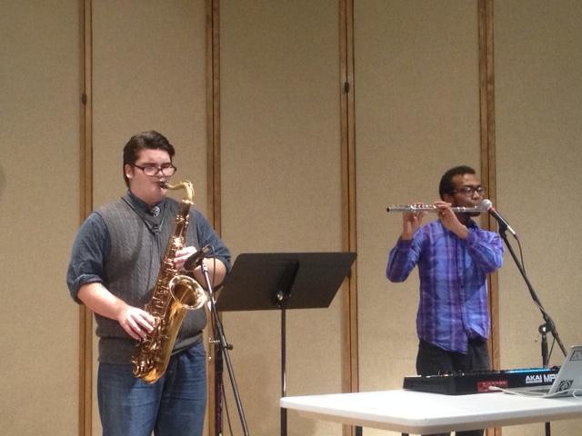 UNI flute alum Azeem Ward with UNI jazz saxophone student Abe Miller