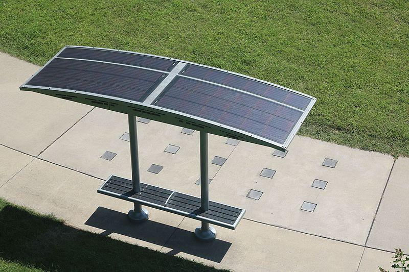 A solar powered park bench at the Iowa State Fairgrounds