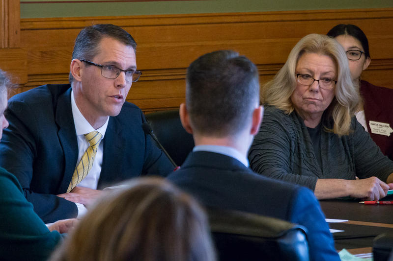Sen. Randy Feenstra (R-Hull), Sen. Pam Jochum (D-Dubuque) and others at subcommittee hearing on GOP tax cut plan
