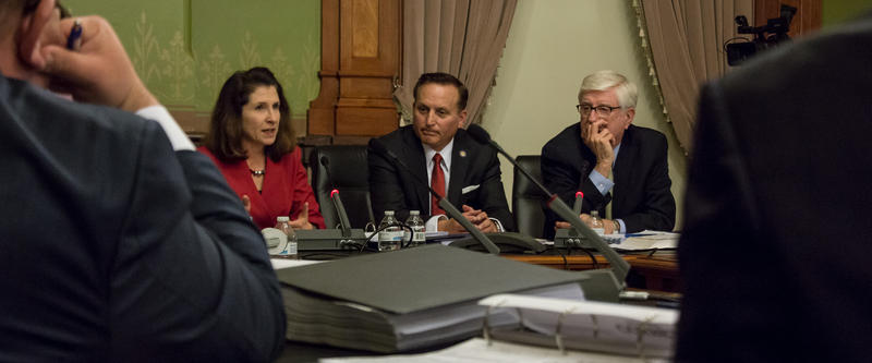 The three member State Objection Panel with State Auditor Mary Mosiman, Secretary of State Paul Pate, and Attorney General Tom Miller listen to challenges to the nomination of various candidates.
