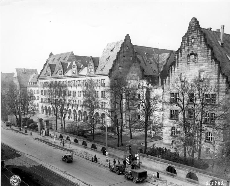 Building to the left of the Palace of Justice in Nuremberg, Germany