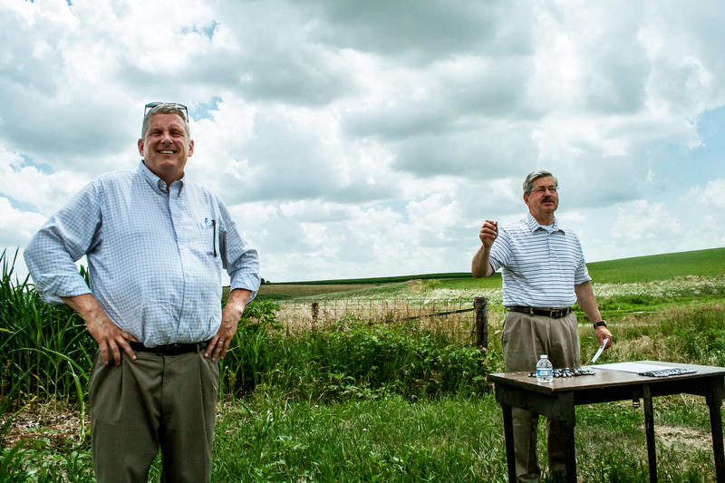 In 2013, then Iowa Secretary of Agriculture Bill Northey (left) and Gov. Terry Branstad visited a wetland demonstration project near Winterset.