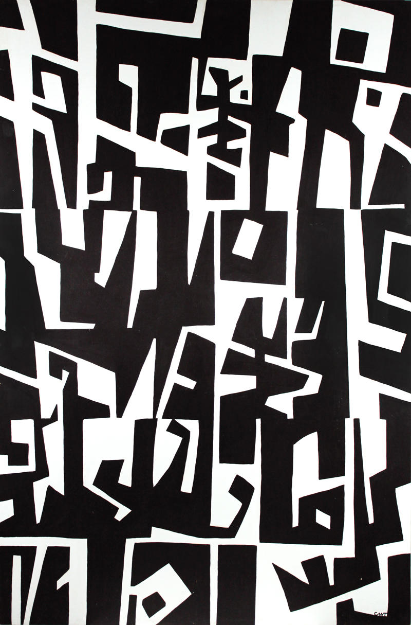 Charles W. Thwaites (America, 1904 – 2002), Patterns in Black & White, ca. 1961, Acrylic on composition board, 17 13/16 x 48 inches. Gift of CWT Art LLC representing the Estate of Charles W. Thwaites, Museum of Wisconsin Art, 2011.297