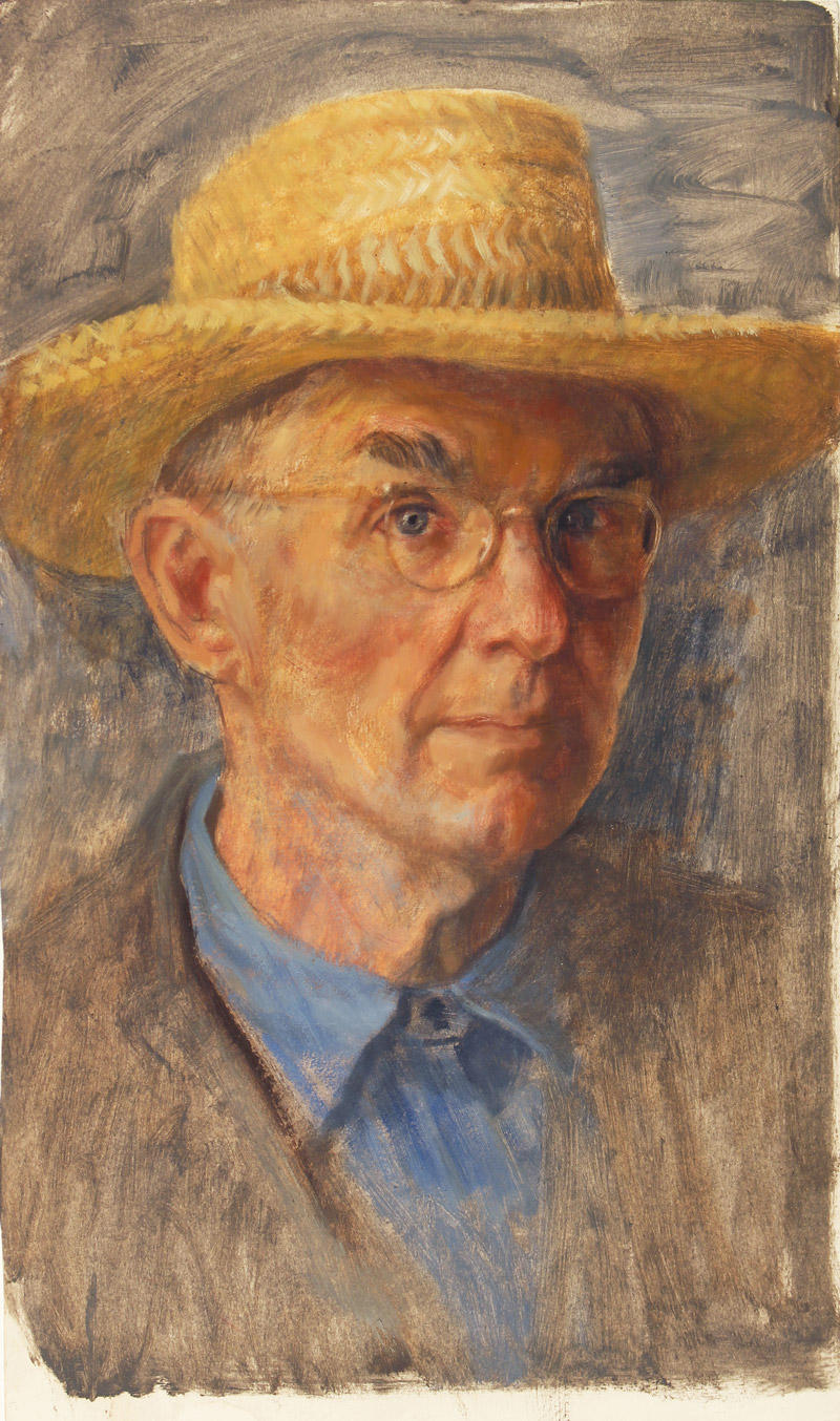 Charles W. Thwaites (America, 1904 – 2002), Self-portrait with Straw Hat, 1958, dry oil on paper, 18 ½x11 ¼ in., Gift of CWT Art LLC representing the Estate of Charles W. Thwaites, Museum of Wisconsin Art Collection, 2011.217