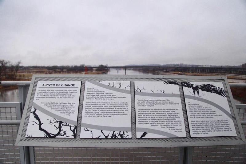 The Bob Kerrey Pedestrian Bridge between Omaha, Nebraska and Council Bluffs, Iowa overlooks the Missouri River.