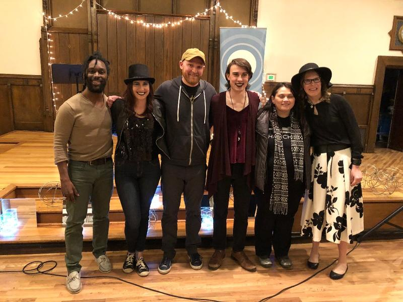 """Fringe: True Stories From Outsiders"" storytellers and host, left to right, Daniel Tardy, program emcee and performer Lindsey Moon, John Paul Derryberry, Ryan Hall, Miriam Alarcon Avila, and Veronica Hamly."