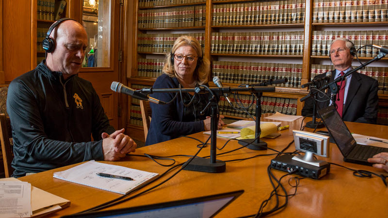L-R:   Rep. Dave Jacoby (D-Coralville); Sen. Pam Jochum (D-Dubuque); and Rep. Guy Vander Linden (R-Oskaloosa).   They were guests on  Iowa Public Radio's Rivere to River program, live from  the Law Library at the Iowa Statehouse