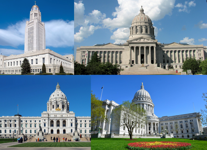Midwestern statehouses: Missouri (top right), Nebraska (top left), Wisconsin (bottom right), Minnesota (bottom left)