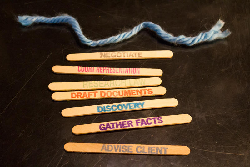 "A la carte legal services allow a client to hire an attorney for specific tasks, as illustrated by these ""unbundled"" sticks."
