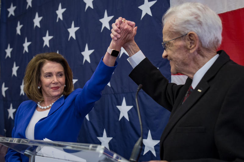 Former Iowa Congressman Leonard Boswell introduces U.S. House Minority Leader Nancy Pelosi at the Polk County Democrats Spring Dinner Fundraiser.