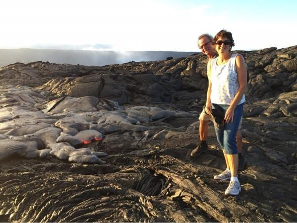 Sue and John Little near slow-moving pahoehoe lava in August 2016.