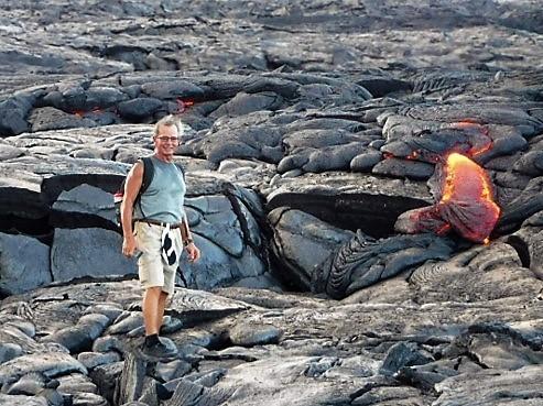 John Little on a hot lava field in 2016.