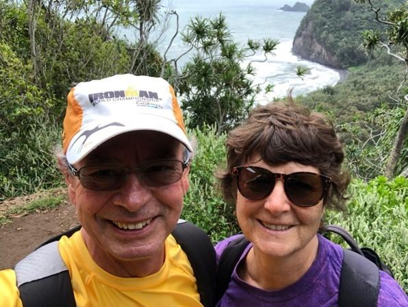 John and Sue Little above Pololu Beach in March 2018