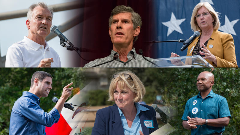 The Democratic candidates vying for their party's nomination are (Top Left to right) John Norris, Fred Hubbell, Andy McGuire, (Bottom left to right) Nate Boulton, Cathy Glasson, Ross Wilburn