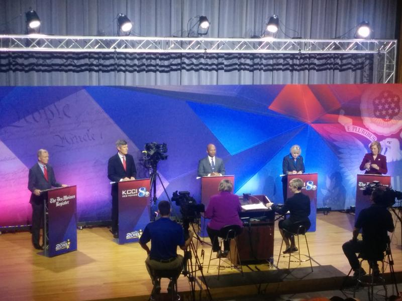 Stage at State Historical Building for KCCI-TV, Des Moines Register debate