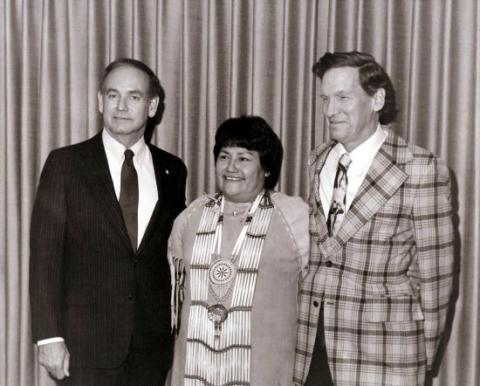 Iowa Governor Robert Ray is pictured with Maria Pearson, a Native activist, and her husband, John.