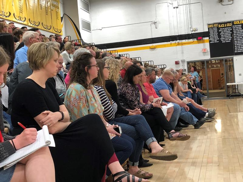More than 200 people attended a recent meeting on the future of Superintendent Mark Schneider, including women who were targeted by Trent Yoder as students.