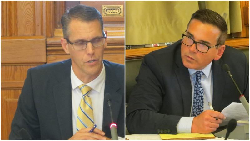 Sen. Randy Feenstra, R-Hull; Sen. Matt McCoy, D-Des Moines
