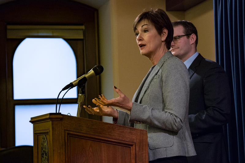 Gov. Kim Reynolds at her weekly news conference in March 2018