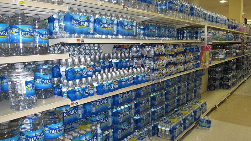 Bottled water on a store shelf
