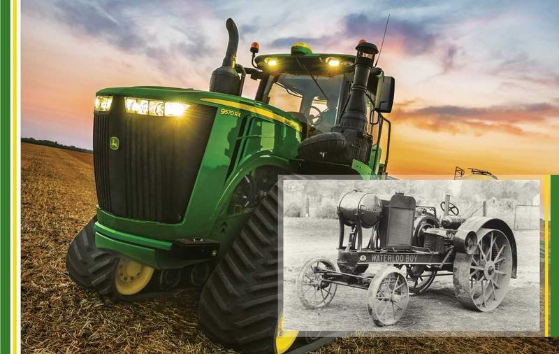 John Deere tractors, then and now: Over the last 100 years, John Deere's 1918 Waterloo Boy tractor (inset) evolved into the massive machines Iowa farmers use today.