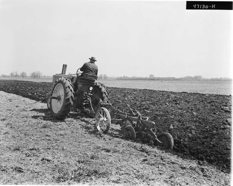 John Deere, black and white: John Deere's Model A was the company's first true row-crop tractor and first with rubber tires.