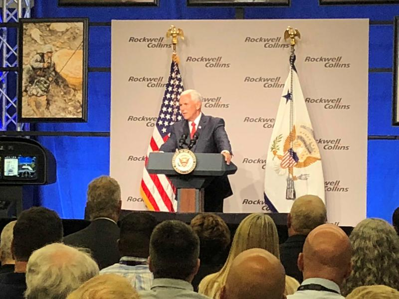 Vice President Mike Pence defended the president's trade policies as beneficial to Iowa's economy at an event in Cedar Rapids.