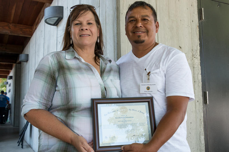 Vicki Witte's life was saved by Arturo Melendez when he pulled her out of a car and performed CPR. He is honored with a lifesaving award at the Iowa State Fair.