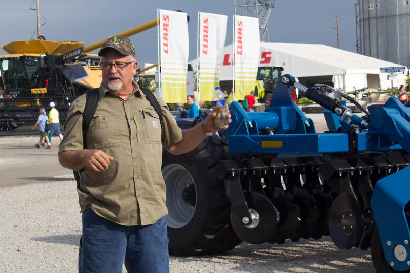 Farmer Pete Brecht of Central City, Iowa, looked at new equipment at the show, but said he'd just purchased a used grain cart after waiting a year for a better price.