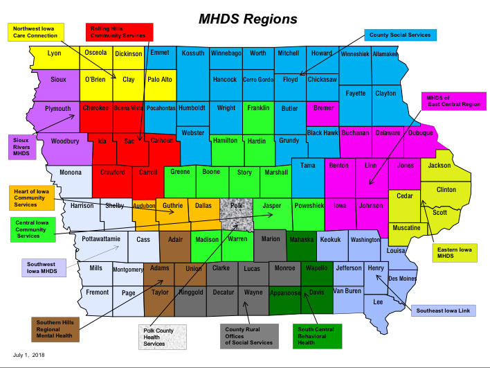 A map of all of the mental health regions in Iowa.
