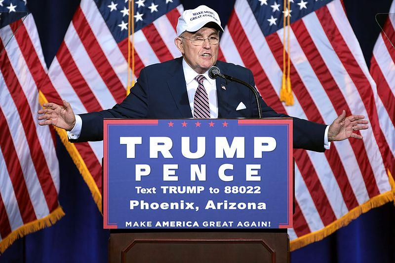 Former Mayor Rudy Giuliani of New York City speaking to supporters at an immigration policy speech hosted by Donald Trump at the Phoenix Convention Center in Phoenix, Arizona in August 2016
