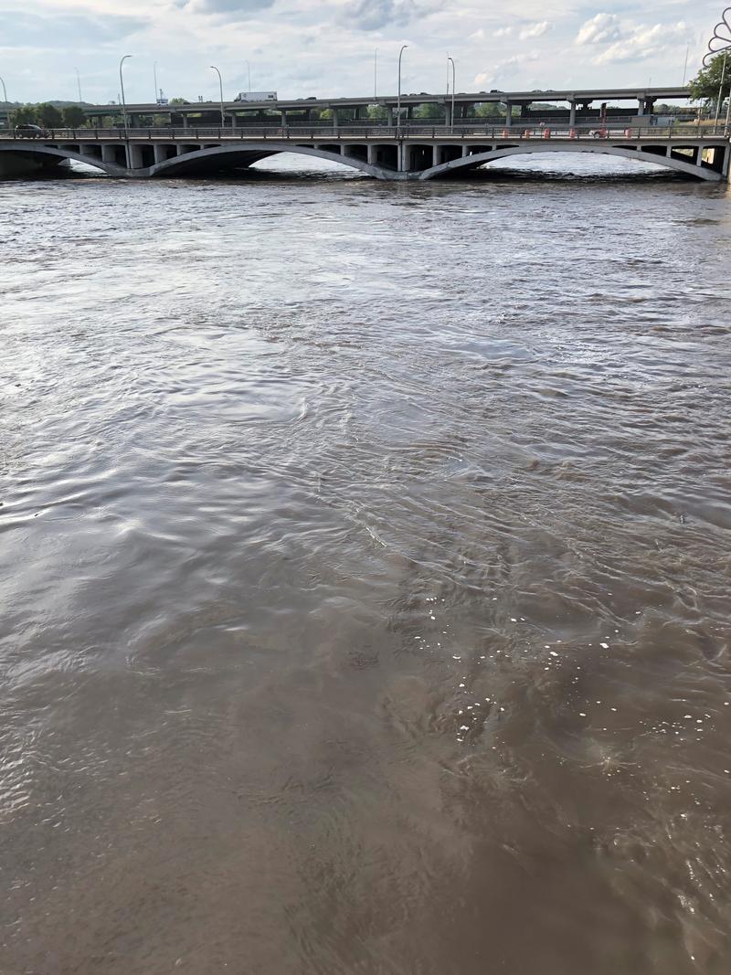 The Cedar River approaches major flood stage in downtown Cedar Rapids.