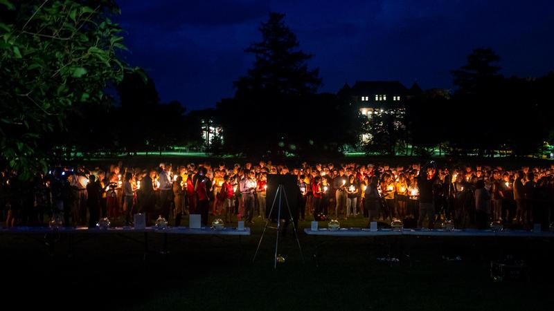 Mourners Honor Iowa State University golfer Celia Barquín Arozamena at the conclusion of a vigil Wednesday.