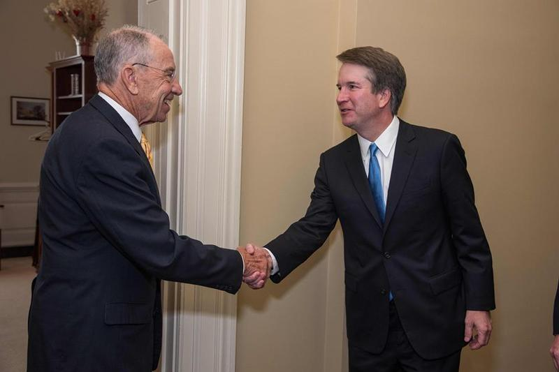 Senator Charles Grassley greets President Trump's Supreme Court nominee Brett Kavanaugh.