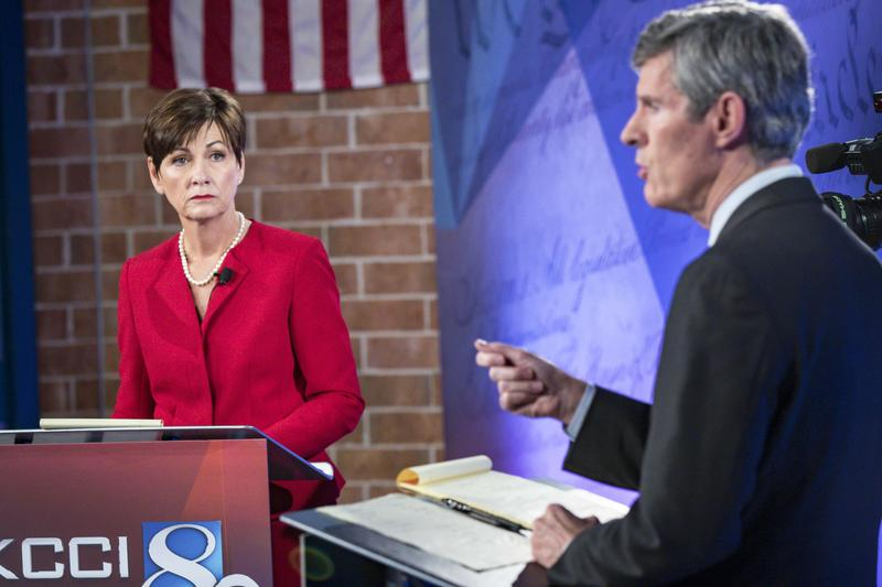 Gov. Kim Reynolds and Democratic candidate for governor Fred Hubbell
