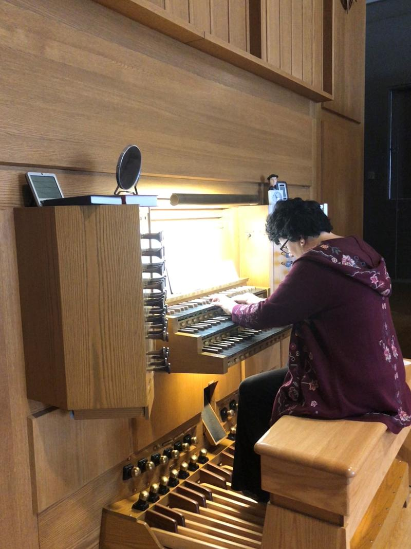 Organist Shelly Moorman-Stahlman practices on the Krapf Organ, which was salvaged from the University of Iowa's flooded campus in 2008. It's now installed at St. Andrew Presbyterian Church in Iowa City.