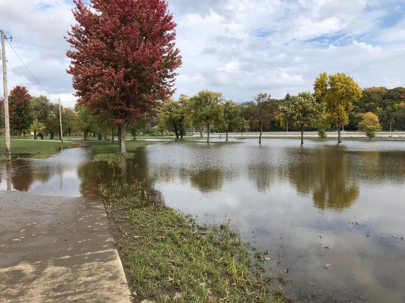 Floodwaters from the swollen Iowa River cover part of City Park in Iowa City.