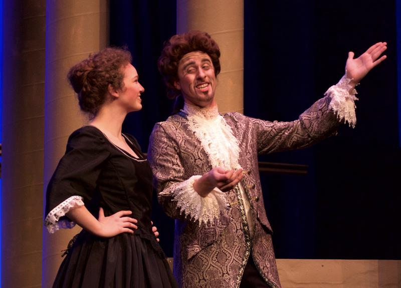 (Left to right) Brenna Sherman as Despina; Mitchell Gage as Don Alfonso