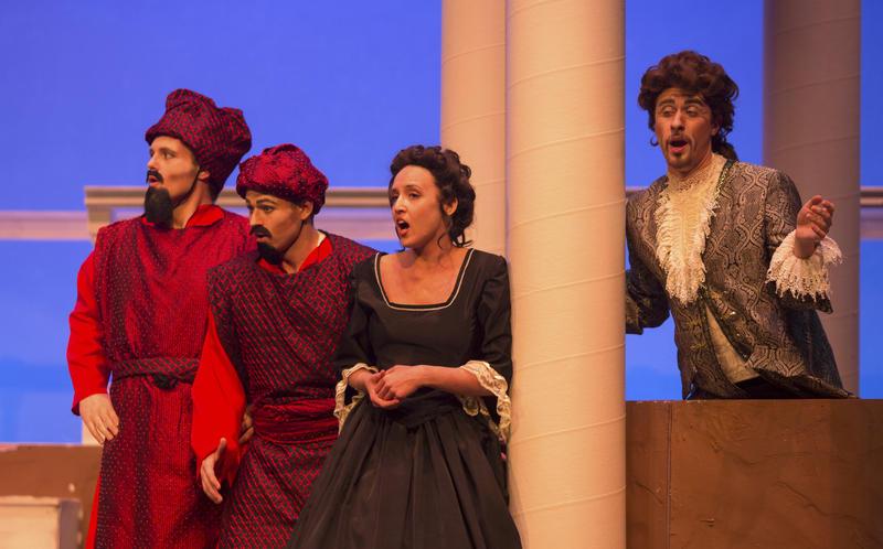 (Left to right) Joshua Vidervol as Guglielmo; Nathan Baldwin as Ferrando; Marie Sauze as Despina; Mitchell Gage as Don Alfonso