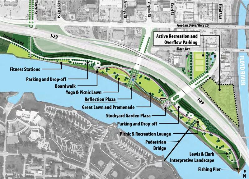 A screenshot of the Sioux City's March 2018 master plan for the riverfront.