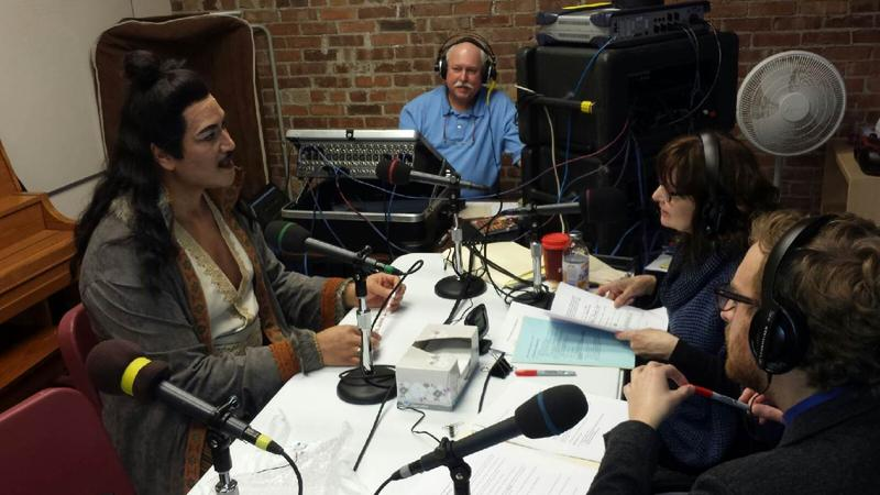 Ta'u Pupu'a as Calaf with IPR's Jacqueline Halbloom and Jim Davies and guest co-host Kyle Naig