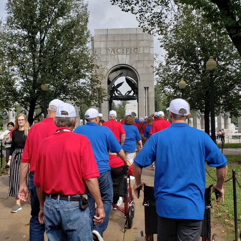 Iowa veterans walk up to the WWII memorial in DC