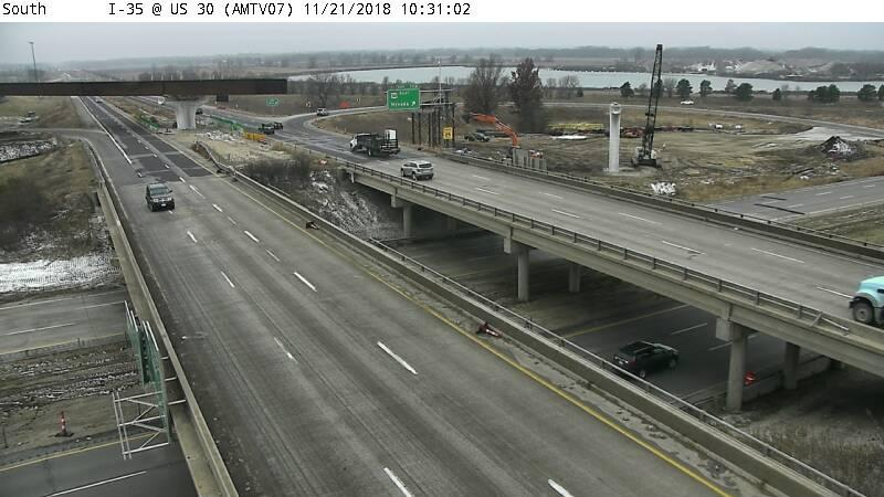 An Iowa DOT camera captured this image of the Interstate 35/U.S. 30 interchange near Ames, where construction is ongoing.