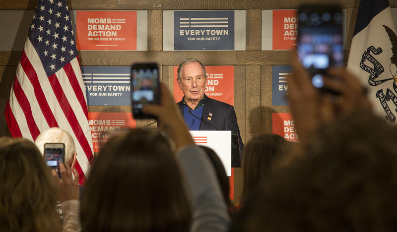 Former New York City Mayor Michael Bloomberg speaks to a local chapter of Moms Demand Action at the Iowa Taproom in Des Moines 12/4/2018.