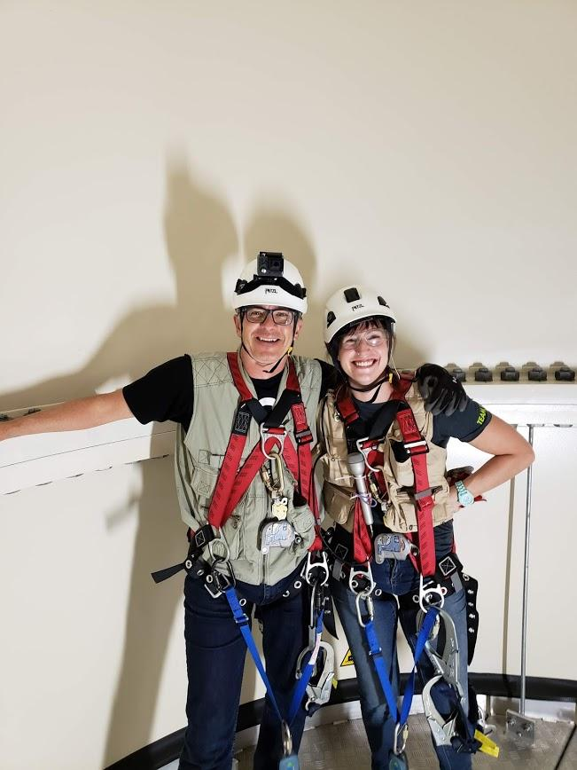 Ben Kieffer and Lindsey Moon on the base platfrom of Tower 93 at the Mid-American Energy North English Wind Farm.
